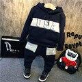 2016 outono inverno hoodies menino definir Meninos Roupa Do Bebê leggings Calças Terno Com Capuz Carta EUA impresso Kid Roupas camisola