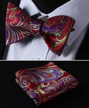 Платок классический свадьбу bf431rs красный зеленый folral бабочкой Для мужчин Шелка Самостоятельная галстук-бабочку платок Набор >> HISDERN