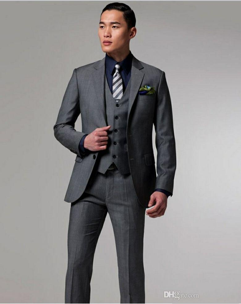 7f49ab56d436 Handsome Dark Grey 3 Pieces Groom Tuxedos Single Breasted Men Suits ...