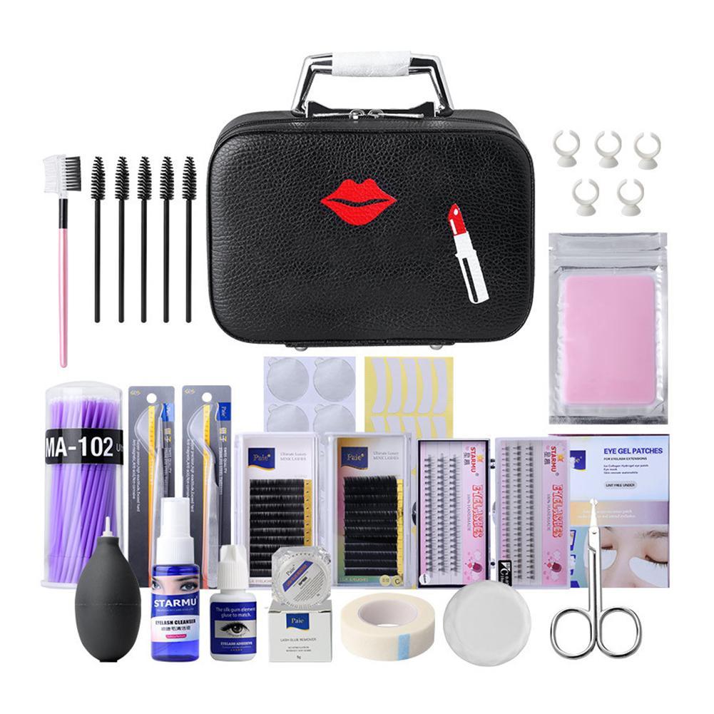 22PCS Eyelash Extension Tools Kit Eyebrow Comb Fake Eyelashes Tweezers Glue Gel Remover Eyelashes Extension Pract Under Eye Pads