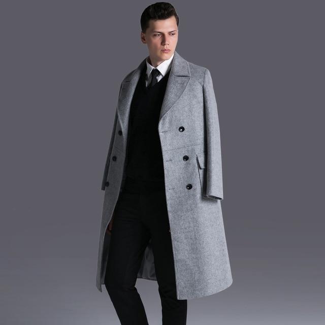 S-6XL! 2016 г. мужские новые модные ботфорты шерстяное пальто Новая Англия Двойной Брестед Длинные шерстяное пальто большие размеры Тренч Одежда