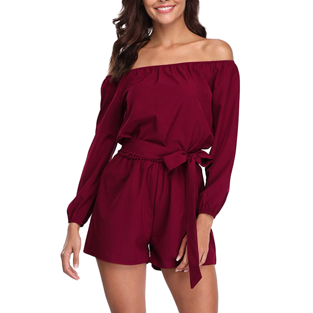 Jumpsuits   for Women 2018 Women Summer Off Shoulder Casual Romper Sexy Streetwear Shorts Rompers Womens   Jumpsuit   Female