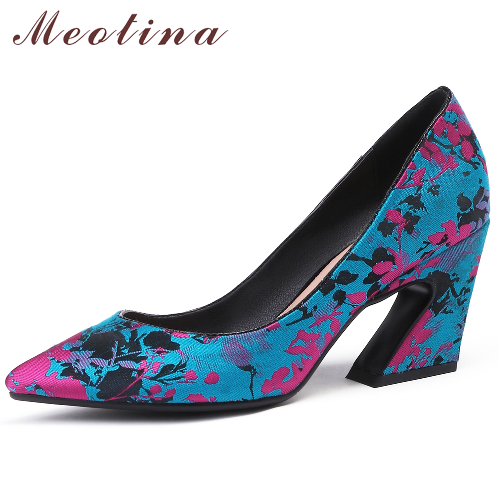 Meotina Women Pumps High Heels Silk Flower Strange Style High Heels Shoes Mixed Colors Pointed Toe Ladies Shoes Red Big Size 43