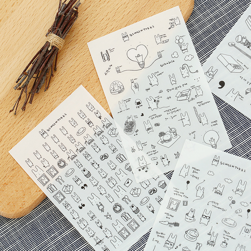 6 Sheets/lot Cute Rabbit Sticker DIY Scrapbooking Diary Sticker Kawaii Stationery Sticker For Kids