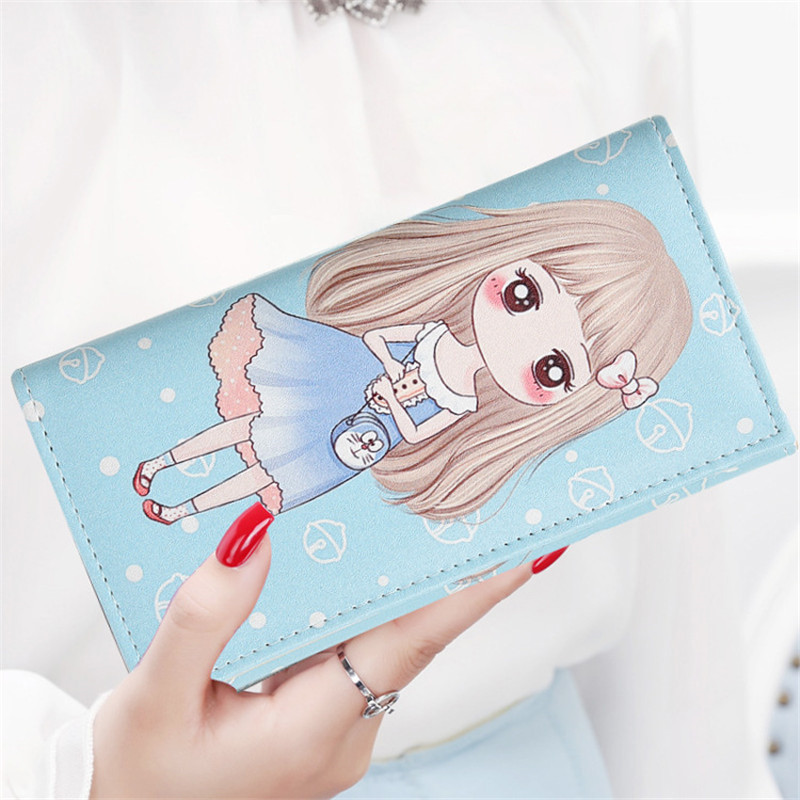 Fashion Cute Girl Wallet Cartoon Anime Print Pattern Purses Bag Long PU Leather Wallets With Hasp Card Holder Girls Wallet Bag cartoon pokemon go purse pocket monster pikachu johnny turtle ibrahimovic zero wallets pen pencil bags boy girl leather wallet
