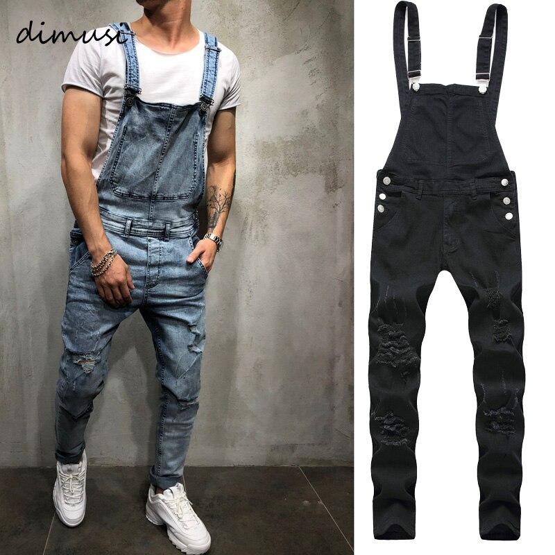 DIMUSI Fashion Men's Ripped Jeans Jumpsuit Men Hip Hop Streetwear Distressed Denim Bib Overalls For Man Suspender Pants Clothing