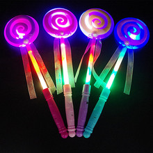 2019 Hot Sale 33.5*9*9.5cm Plastic LED Colorful Flash Magic Wand Fairy Wand Luminous Lollipop Toy for Children Holiday Gifts