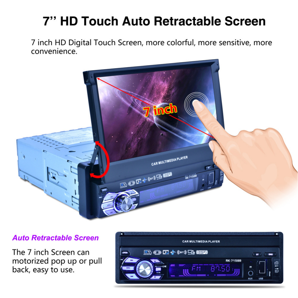 1 DIN Stereo Car Radio MP5 1080P Playback Car Monitor Bluetooth SD USB Charger HD 7inch Automatic Retractable Double Screen