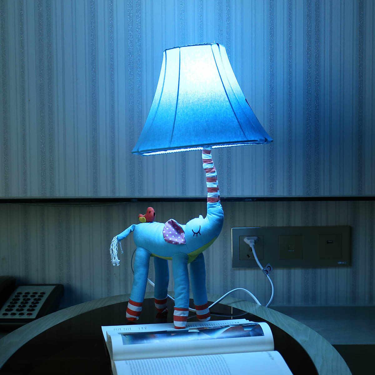 Elefante azul arte pano escultura morden decoração para casa sala de estar quarto crianças candeeiro mesa