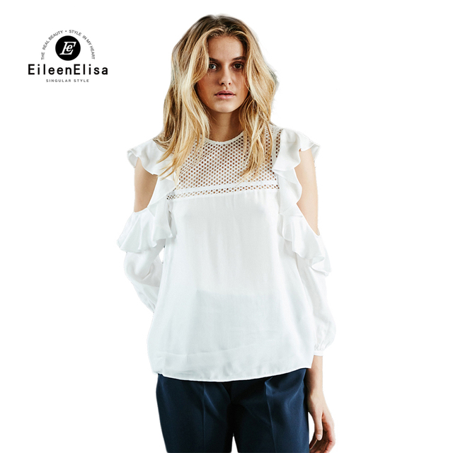 Women Casual Blouse White Pullover Off Shoulder Blouse Shirts Long ...