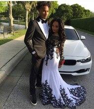 Paare Mode Schwarz Und Weiß Applique Spitzen Langarm Prom Kleider Nigeria Schwarz Mädchen Meerjungfrau Arabisch Anlass