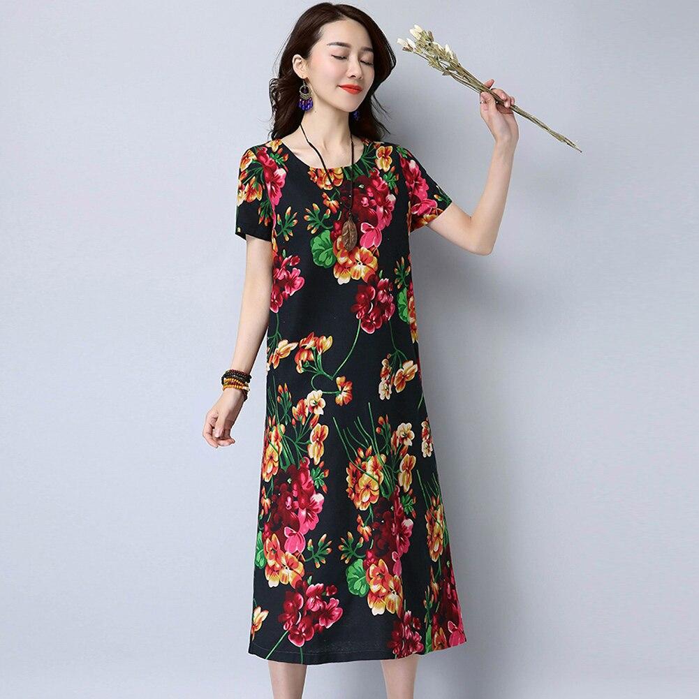 Plus Size 3XL 4XL 5XL Vintage Cotton Dress Women Boho Floral Dress O-Neck  Casual ff5921004a81