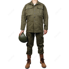 цена на WWII US HBT VERDE UNIFORME CAMICIA GIACCA E PANTALONI PANTALONI ARMY GREEN COTTON US/501104(no shoes,no Helmet)