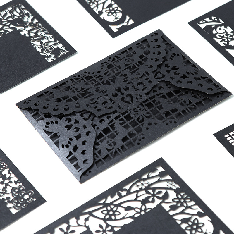 3PCS Black And White Style Hollow-Out Greeting Card Postcard Birthday Wedding Invitation Greeting Card Envelope Gift Card XF09