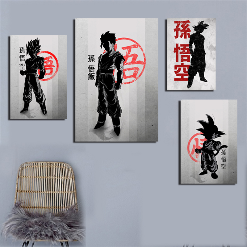 Goku Smoke And Fire Art Canvas Poster Japanese Anime Print Classic Painting Black White Wall Picture Modern Home Decoration