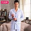 Outono Luva Cheia dos homens Conjuntos de Pijama Homewear Pijamas de Algodão Sleepwear Masculino Ocasional Turn-down Collar Salão Sono Pijama A5013