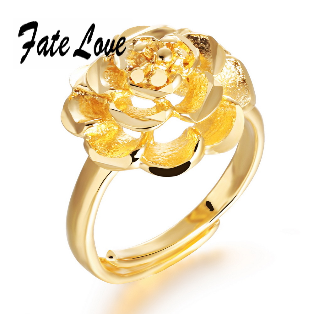Luxury Fashioin Gold Plated Cute Ring Big Flower Design Finger Ring ...