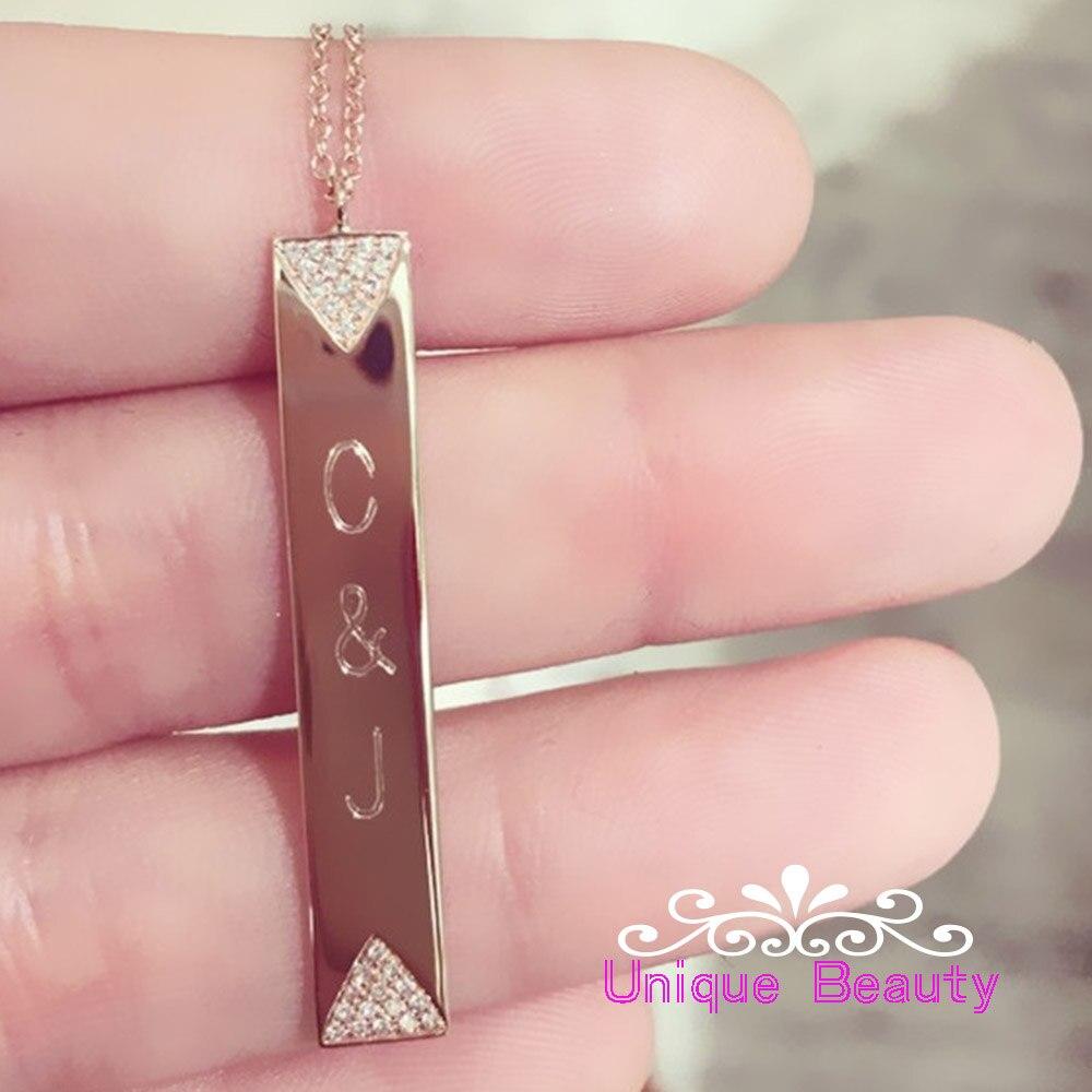 Barre verticale personnalisé nom collier gravé Initals lettre charme anniversaire bijoux personnalisé argent collier pierre