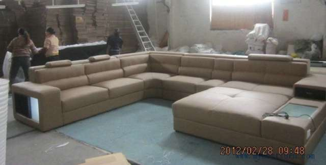 Hot Modern Orange Sofa Set Large Size U Shaped Villa Couches Real Leather With
