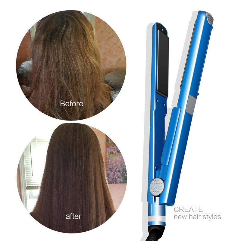 Pro Nano Titanium Plate 2 IN 1 Professional Hair Straightener Flat Iron Curling Irons Curlers Hair Styling Tools Blue 4