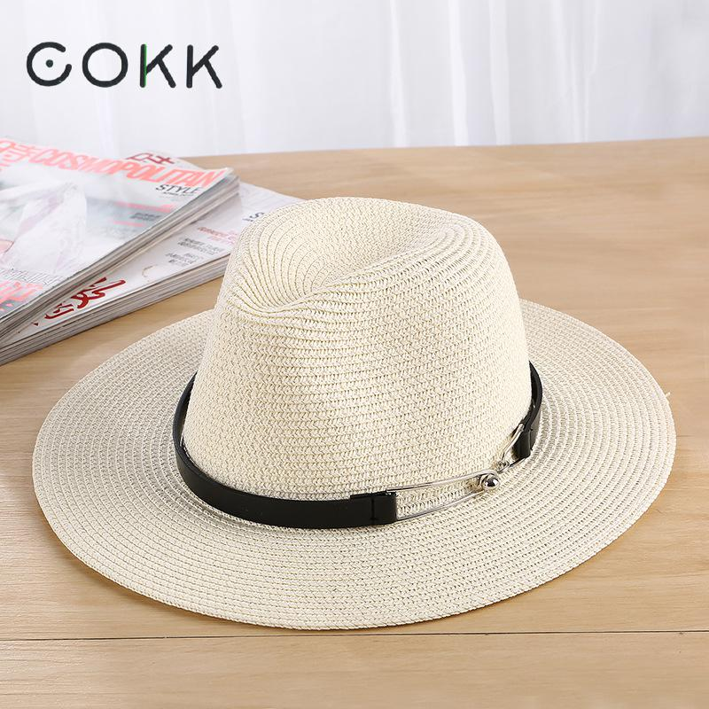 cokk sun hat summer hats for women men unisex straw beach panama hat bucket hat chapeau femme. Black Bedroom Furniture Sets. Home Design Ideas