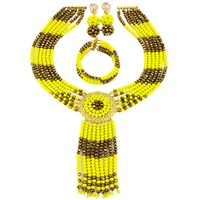 Fashion Opaque Yellow Golden Brown Crystal Beaded Costume African Jewelry Set Nigerian Beads Necklace Sets 6LS06