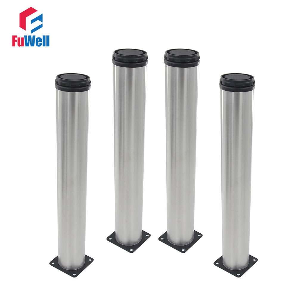 4pcs 500mm Height Furniture Legs Adjustable 15mm Silver Tone Stainless Steel Table Bed Sofa Leveling Feet Cabinet Legs bqlzr 150x63mm square shape silver black adjustable stainless steel plastic furniture legs sofa bed cupboard cabinet table bench