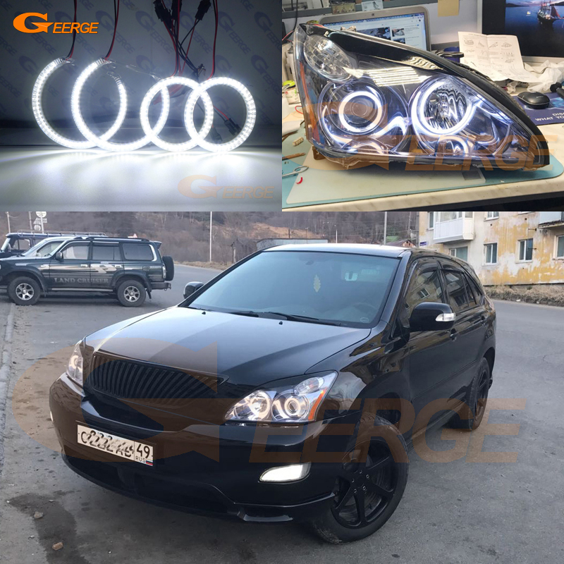 For LEXUS RX300 RX330 RX350 RX400h 2004 2005 2006 2007 2008 PROJECTOR HEADLIGHT Ultra bright smd led Angel Eyes kit DRL bi xenon car led projector lens assembly for lexus rx300 rx350 rx330 with halogen headlight only retrofit upgrade 2000 2008
