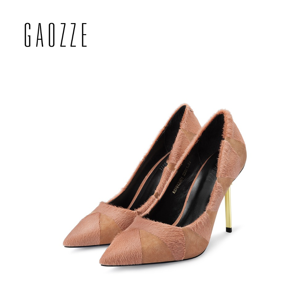 GAOZZE 2017 autumn new fashion high heels pumps pointed toe party shoes high heels Sheep suede woolen stitching shallow mouth 2017 spring autumn shoes shallow mouth pointed toe fashion high heeled velvet thin heels pumps office party shoes