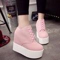 Cuña tacones altos zapatos de mujer Tacones de Plataforma zapatos Casuales Zapatos de Lona de las señoras Zapatos de la escuela las mujeres de san valentín L364