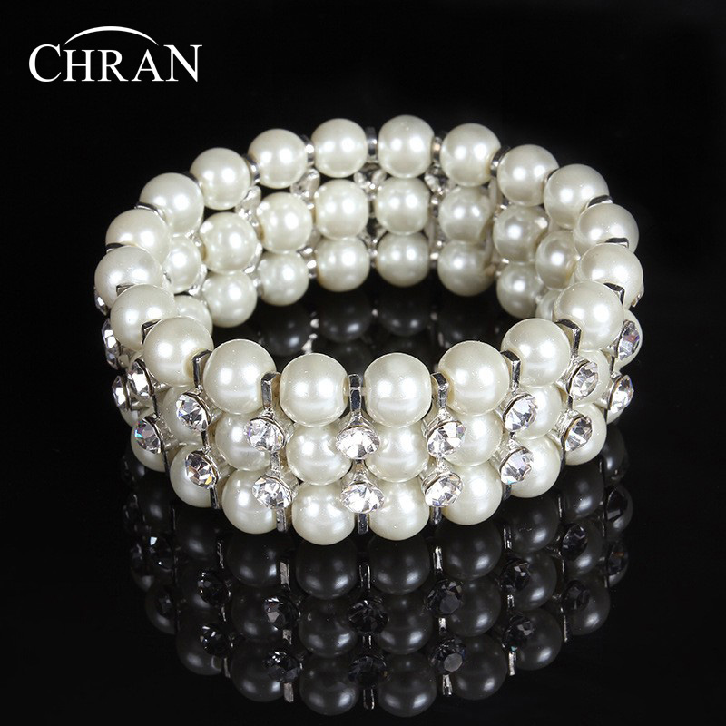 Chran New Rhinestones Crystal Faux Pearl Bridal Bridesmaid Wedding Stretch Wrap Chain Bracelet & Bangle Alloy Lady Gift Jewelry