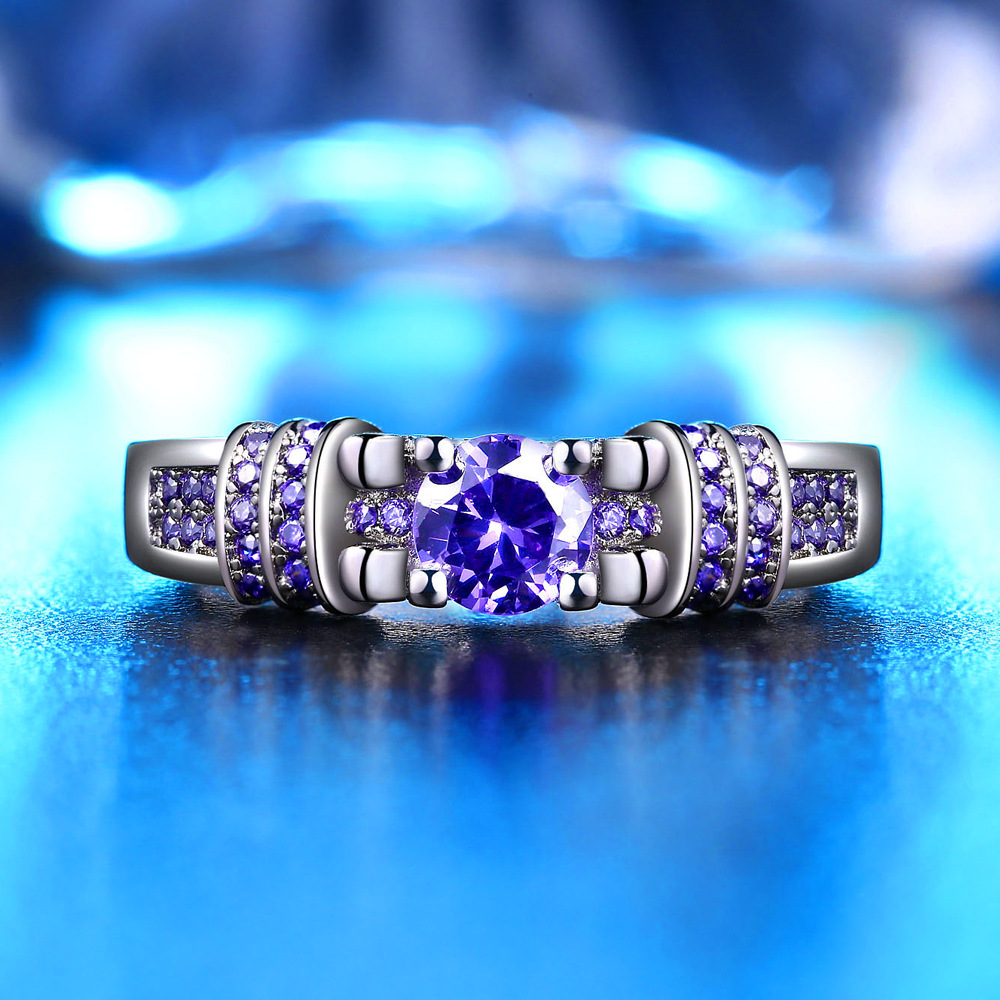 Uloveido Wedding Rings for Women Engagement Ring with Stone Silver Color Purple Ringen Dropshipping Anel Feminino 5% Off HR259