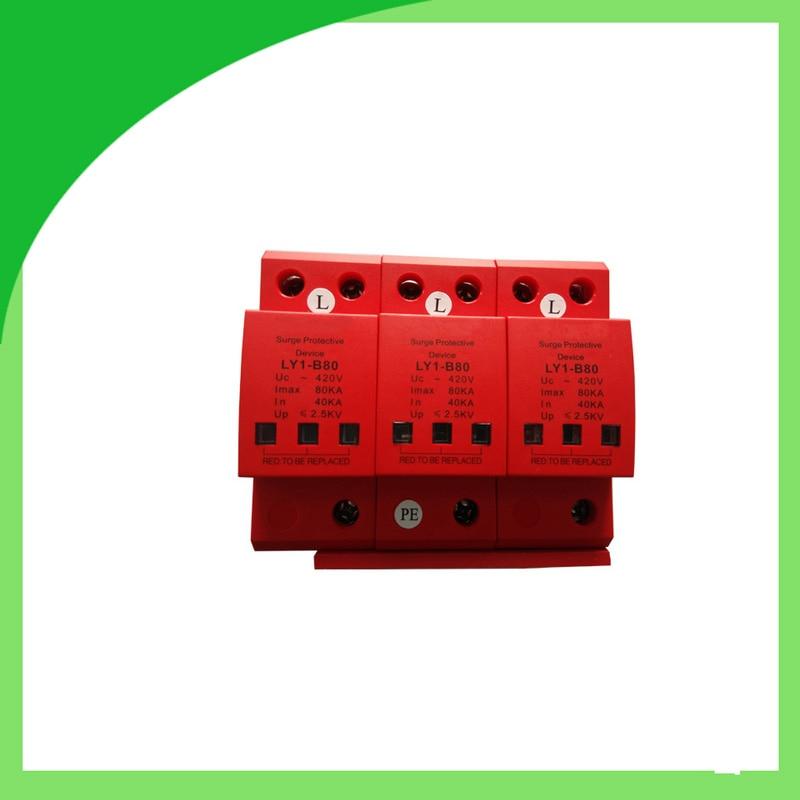 цена на Ly6-80 420V 80ka 3pole Surge Protector Lightning Strike Counter