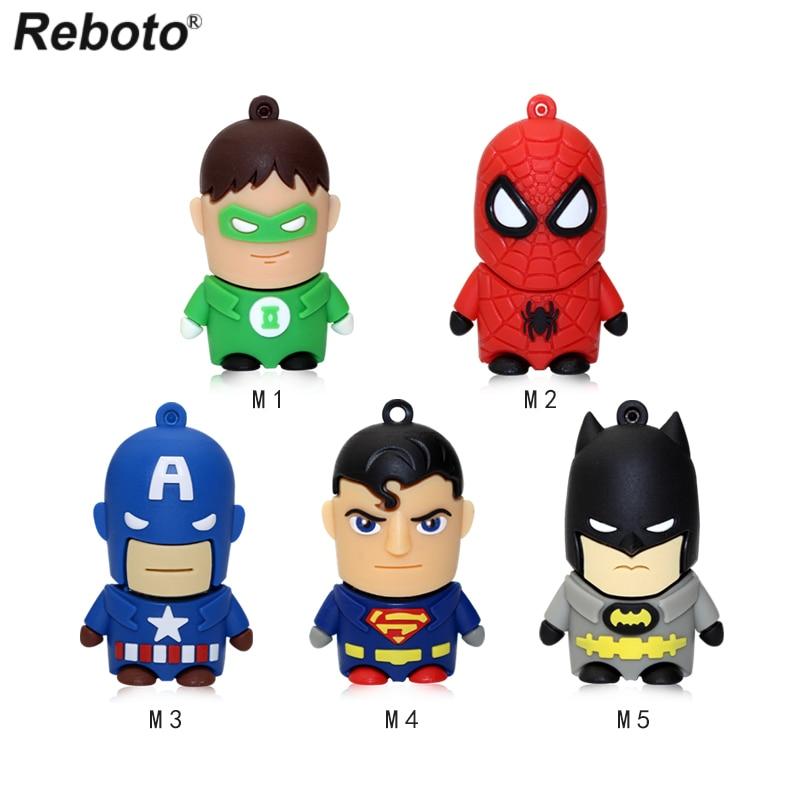 Reboto Superhero Avenger Superman Batman Spider Man USB Flash Drive 4GB 8GB 16GB 32GB 64GB Cartoon Pen Drive Memory Stick U Disk
