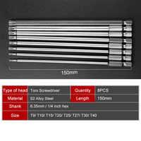 150mm Torx Screwdriver Bits Set 8Pcs 8 Sizes Electric Long 1/4 Inch Hex Shank Magnetic T9 T10 T15 T20 T25 T27 T30 T40