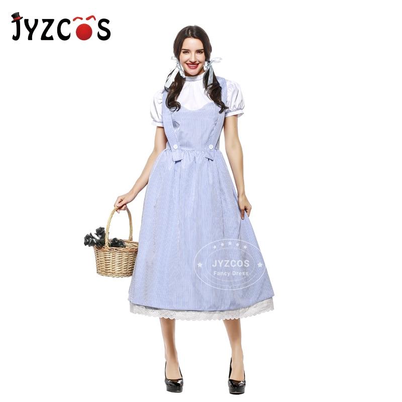 JYZCOS Винтажный стиль для взрослых костюм волшебника из страны Оз Дороти костюмы на Хэллоуин для женщин и девочек длинное Хлопковое платье дл...