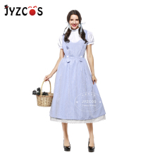 JYZCOS Adult Vintage Style The Wizard of OZ Dorothy Costume Halloween Costumes for Women Girls Cosplay Cotton Long Dress