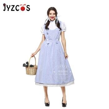 JYZCOS Adulto Estilo Vintage A Dorothy Mágico de OZ Dorothy Cosplay do Traje Trajes de Halloween para As Mulheres Meninas de Algodão Vestido Longo