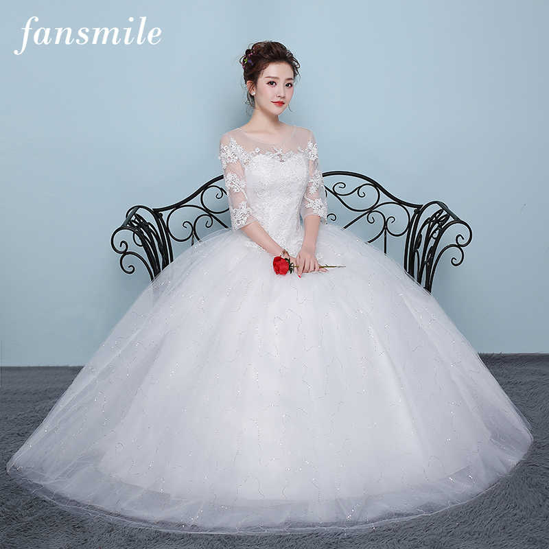 Detail Feedback Questions about Fansmile 2019 Three Quarter Tulle Mariage Vestido  De Noiva Lace Ball Wedding Dress Custom made Plus Size Bridal Gown FSM ... 797b906426ee
