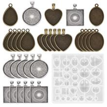 31pcs /lot Time Gem Epoxy Mold Set with Round Square Love Oval Alloy Bottom Mould Jewelry Casting Cake