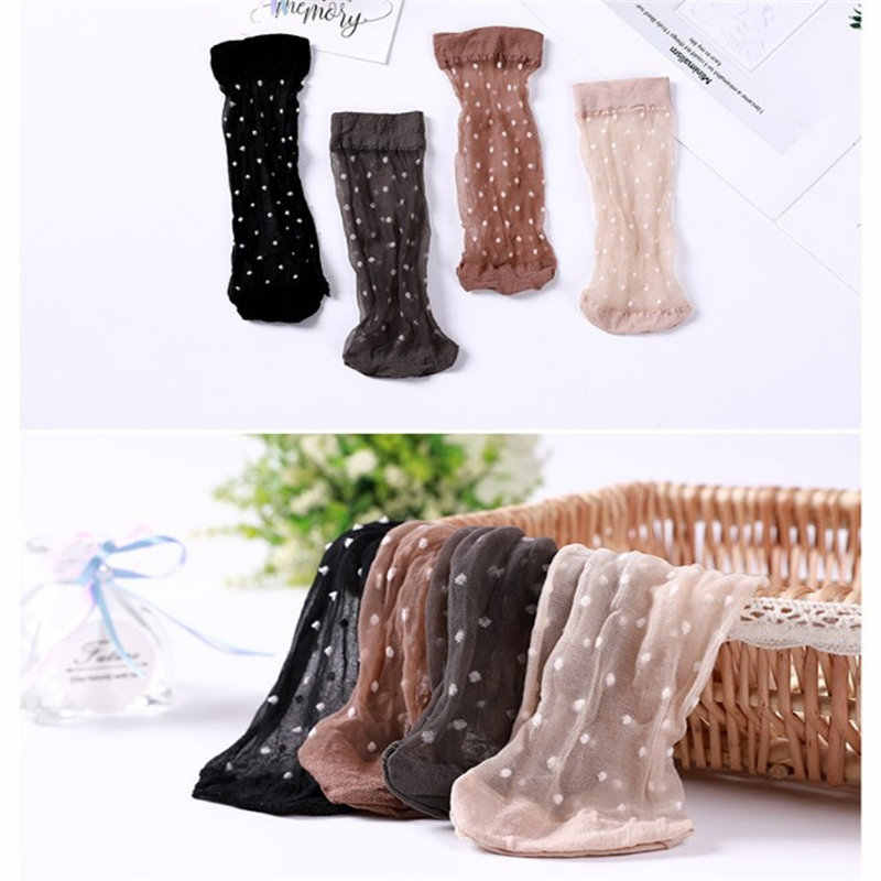 Sexy Mesh Fishnet Socks Dot Thin Crystal Transparent Silk Stretch Elasticity Ankle Net Yarn Thin Women Ultra-thin Sheer Socks