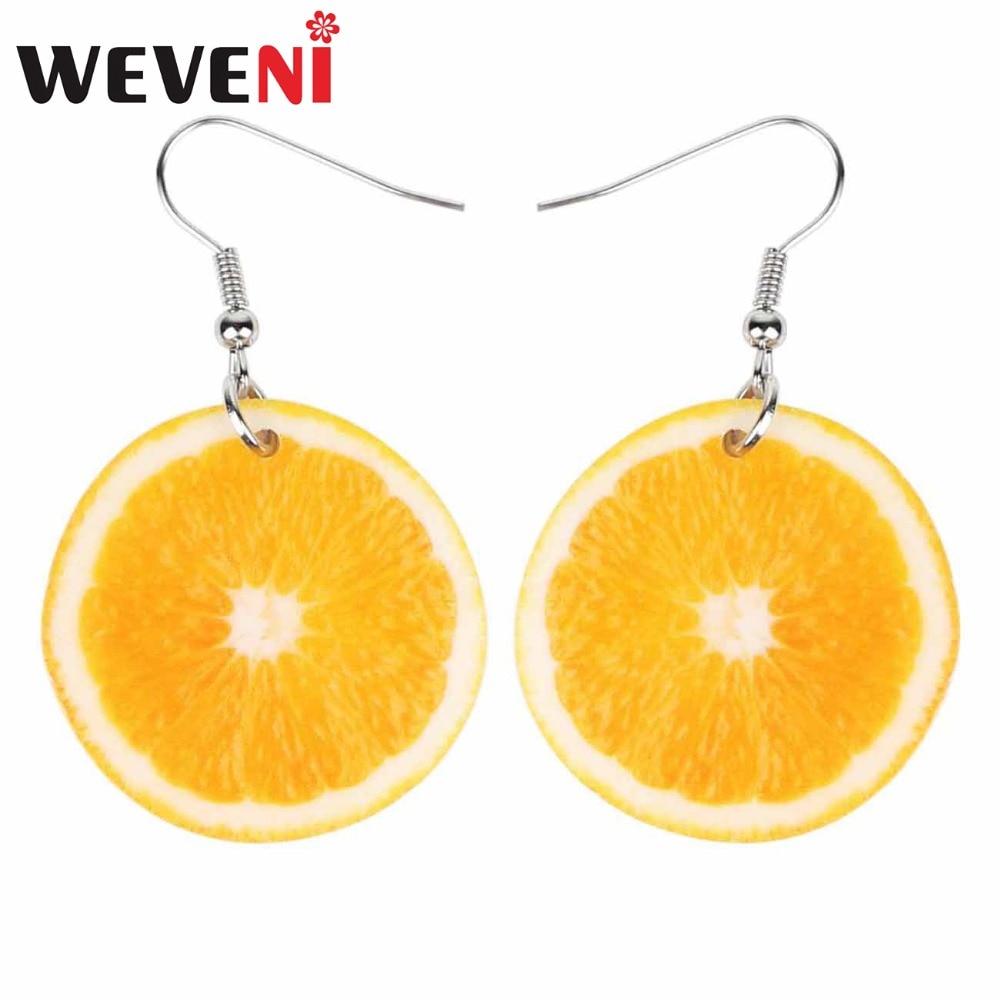 Женские акриловые серьги WEVENI, большие круглые длинные висячие серьги в форме лимона и апельсина, летние ювелирные украшения с фруктами для ...
