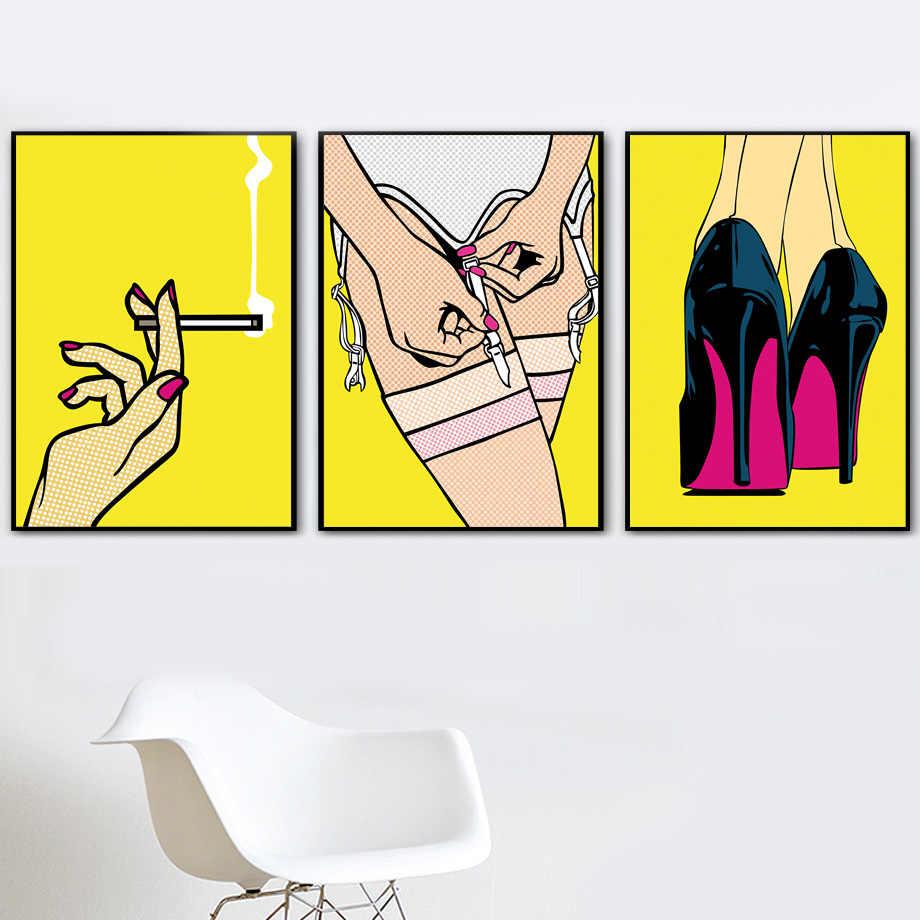 Sexy di Modo Della Biancheria Intima Delle Donne Scarpe di Arte Della Parete Della Tela di Canapa Pittura Nordic Poster E Stampe di Immagini a Parete per Soggiorno Complementi Arredo Casa
