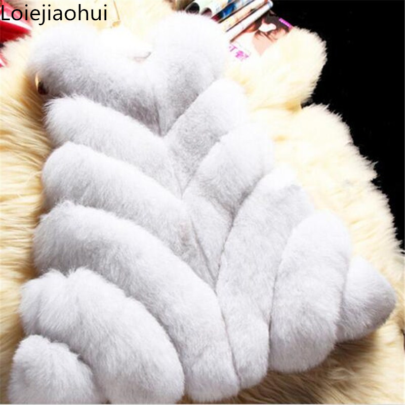 Faux Fur Vest Women Warm Winter Coat Faux Fur Vest Spliced Solid Cappa Female Fox Fur Coats Plus Size Fashion Jacket Outwear