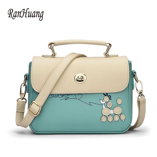 Ranhuang Women Cartoon Printing Cute Handbags Korean Small Shoulder Bags Candy Color Flap Fashion Las Messenger