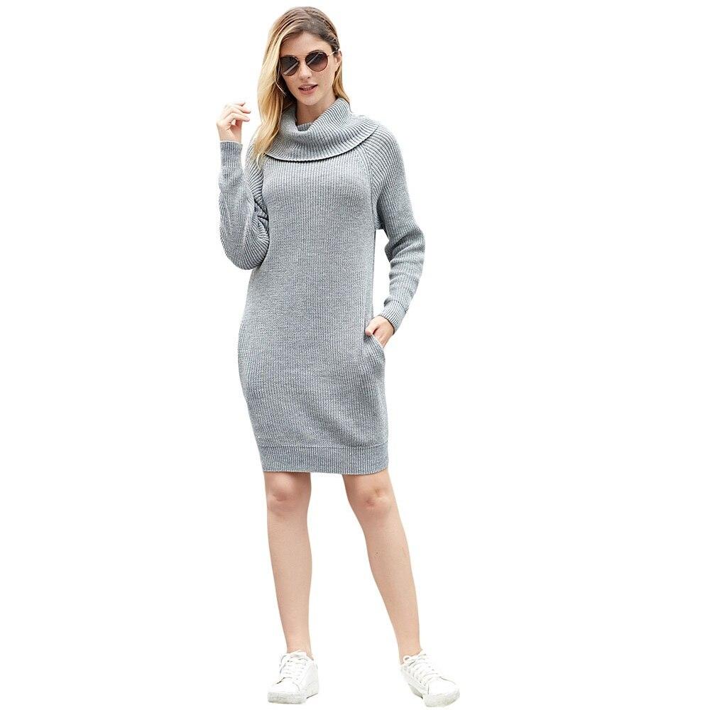 De Mode Solide Causalité Femmes grey longueur Robe Slim Automne Longue khaki 2018 Femelle Pulls Black Genou Fit Hiver Tricoté Chaud pqxEtx7Swn