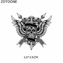 ZOTOONE Heat Transfer Vinyl Skull Patch Iron On Transfers For Clothes T-shirt Punk Rock Wings Stickers DIY Thermal Press E