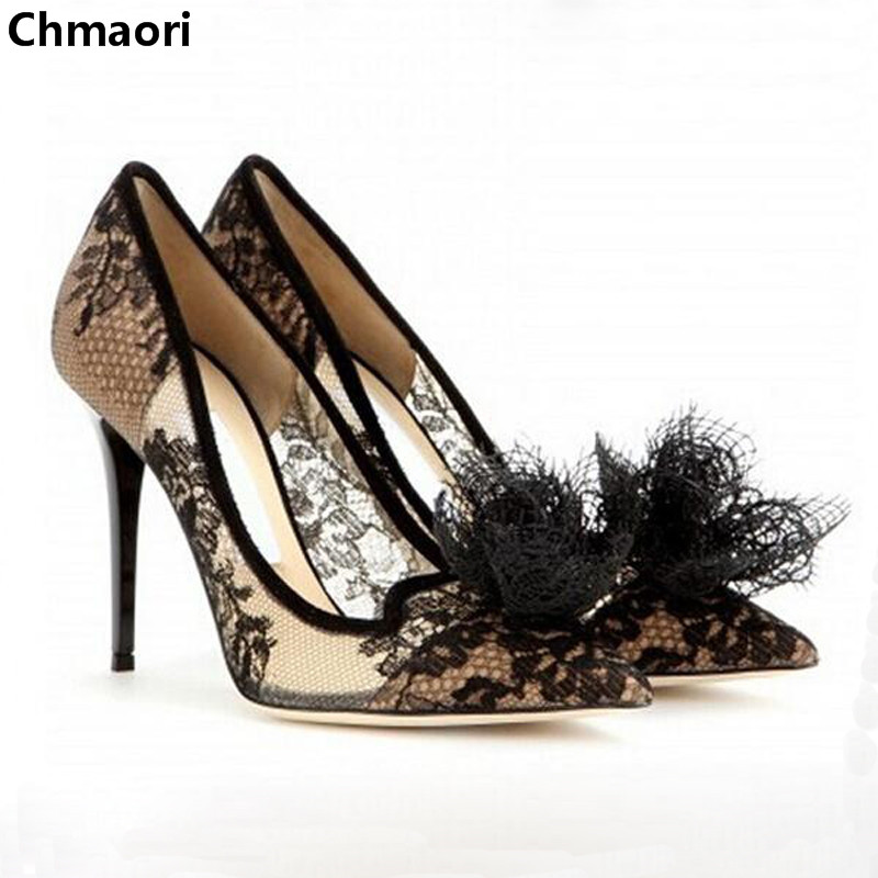 Spring Women Sexy Ultra High Heels Pumps Pointed Toe Lace-Up Embroidery Flowers Thin High Heels Black Cut- Outs Single Shoes