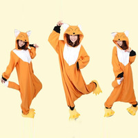 Flannel Lovers Couples Anime Onesie Flannel Fox Pajamas Adult Animal Sleepwear Kigurumi For Halloween Party Wear
