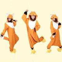 Flannel Lovers Couples Anime Onesie Flannel Fox Pajamas Adult Animal Sleepwear Kigurumi For Halloween Party Wear